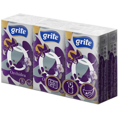 Носовые платки Grite Orchidea White 4 слоя 9 шт х 6 пачек (4770023481167)
