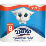 Туалетная бумага Диво Soft 2-слойная белая 8 шт Фото