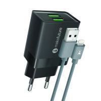 Зарядное устройство MakeFuture 2.4A 2USB Auto-ID Black + кабель Lightning Фото