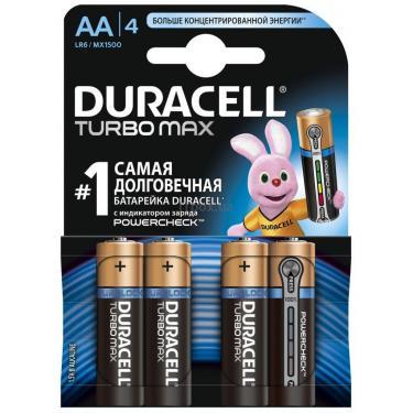 Батарейка Duracell AA TURBO MAX LR6 MN1500 * 4 (5000394069190 / 81546727) - фото 1