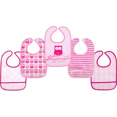 Слюнявчик Luvable Friends 5 шт с узорами, розовый (2208 F)