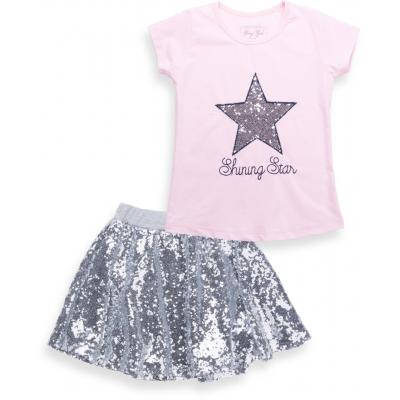 Набор детской одежды Breeze футболка со звездой и юбка в пайетках (9090-128G-pink)